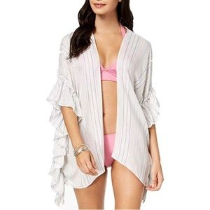 INC International Concepts Striped Ruffle Cover-Up